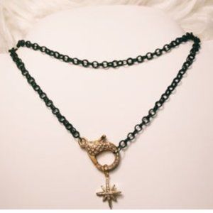 black rolo chain. starburst pave pendant